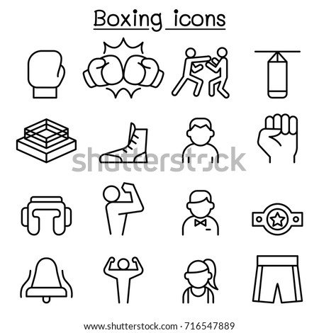 Boxing icon set in thin line style