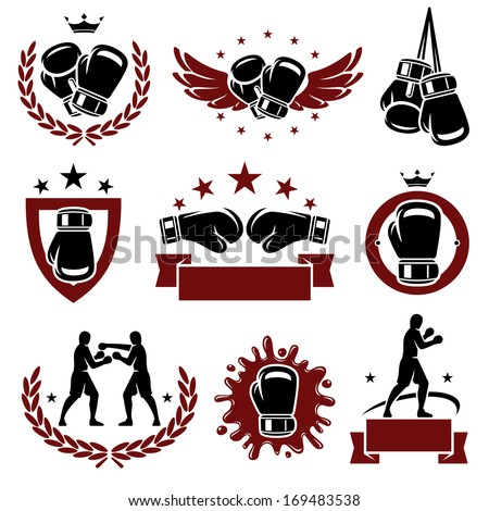 boxing labels and icons set
