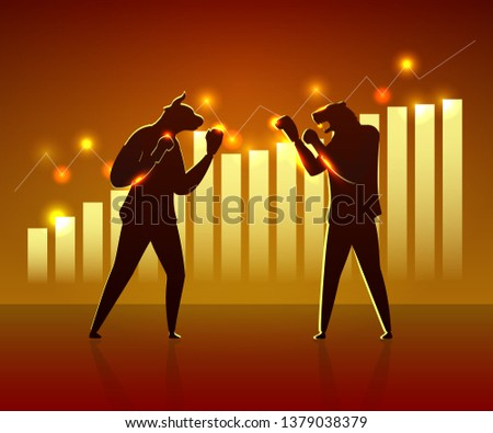 Boxing Match Trader Bull and Bear in Sport Suit. Investor Planning Winner in Stock Market. Insider Competition Diagram Growth. Strategy Conflict Economic Battle Flat Vector Illustration