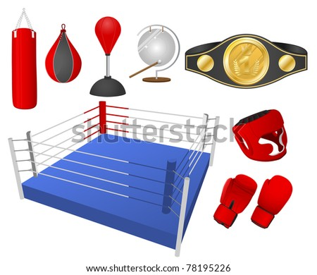 Boxing objects. Vector illustration.