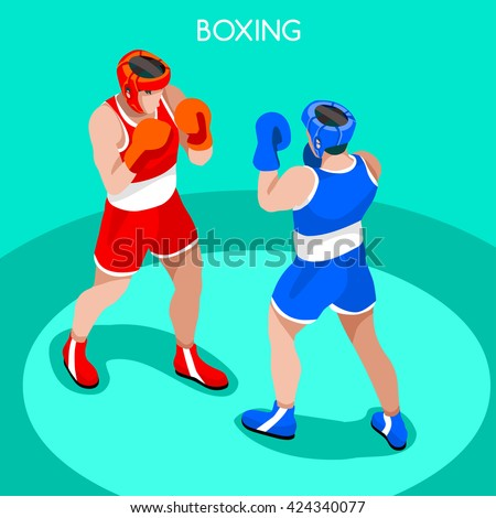 boxing players fighting