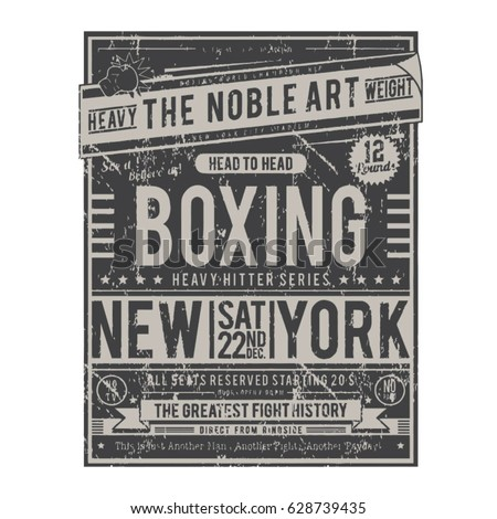boxing poster typography  tee...