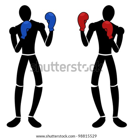 Boxing puppets - stock vector