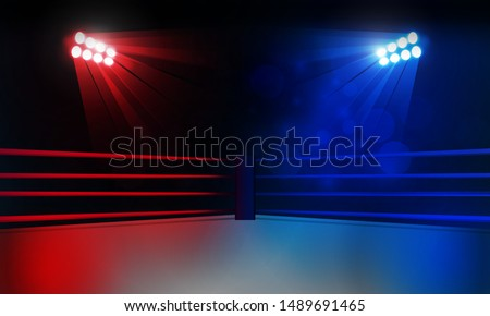 Boxing ring arena and spotlight floodlights vector design. Vector illumination