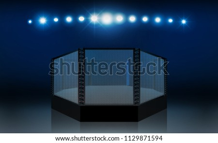 Boxing ring arena vs letters for sports and fight competition. Battle and match design. MMA octagon ring. Vector illumination