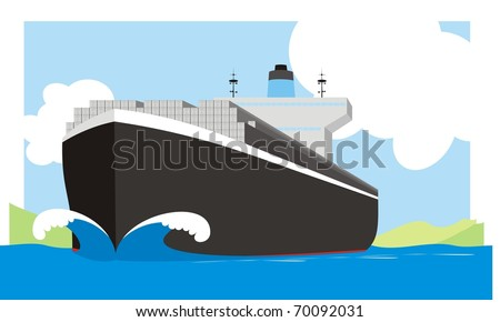 Boxship steaming at full spead - A container vessel with a huge bow wave colorful vector illustration