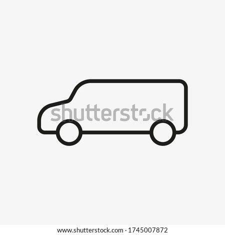 boxy car vector outline icon