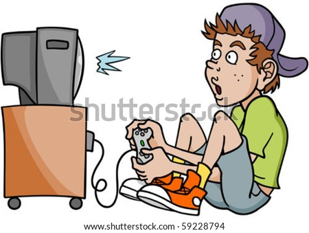 Kids Playing Games Clip Art Boy addicted to playing video