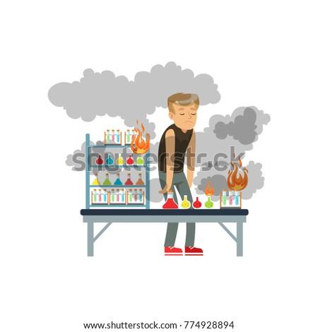 boy after a failed chemical