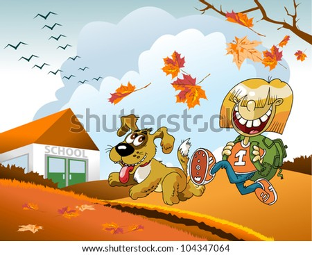 boy and a dog run on the way to school. The vector-illustration;