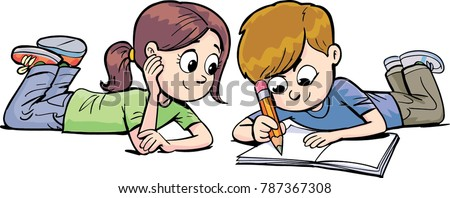 boy and a girl lick on the floor and write with a pen in the notebook