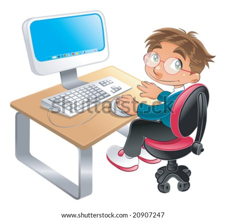 Boy and computer. Funny cartoon and vector character - stock vector