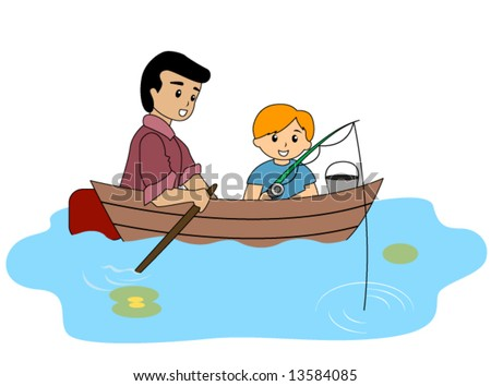 Boy And Dad Fishing - Vector - 13584085 : Shutterstock