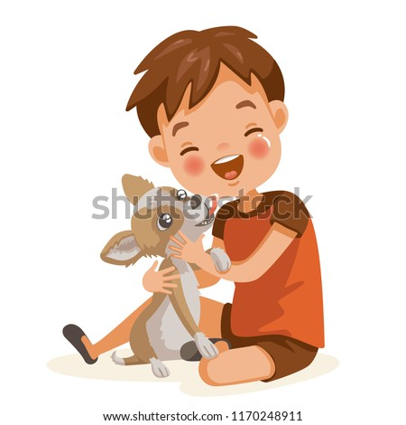 Boy and dog lovely cartoon character. Child lovingly embraces his pet. Dog licking boy on face. Happy smiling boy hugs his best freind chihuahua dog.  vector illustration. Isolated on white background