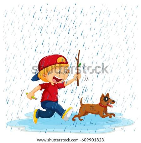 boy and dog running in rain