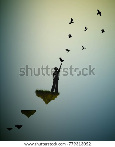 boy  and flying pigeons, fly in the dream land,fly away to the sun, shadows, life on flying rock, silhouette.