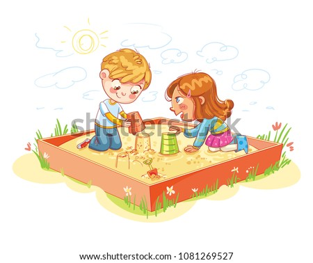 Boy and Girl are playing in the sandbox  in recreation park. Place for children's games. Amusement park. Funny cartoon character. Vector illustration. Isolated on white background - Shutterstock ID 1081269527
