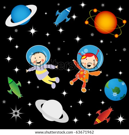 Boy and girl astronauts in cosmos, character development graphic