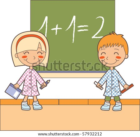 Boy and girl at classroom studying maths lesson solving operations