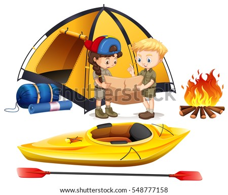 boy and girl camping out...