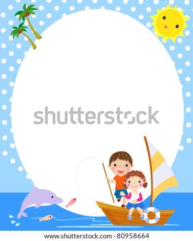 boy and girl fishing,summer