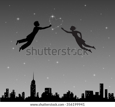 boy and girl flying in night
