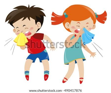 Boy and girl having cold illustration