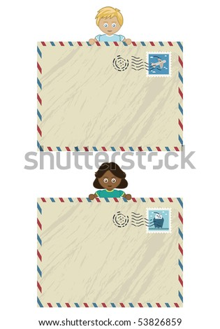 boy and girl holding airmail letters ready for your text