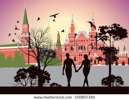boy and girl holding hands and walking in the Red Square