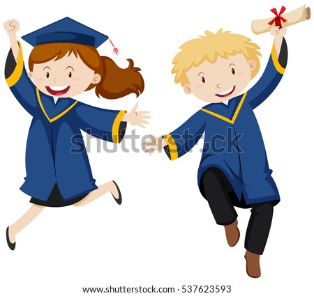 Boy and girl in graduation gown illustration