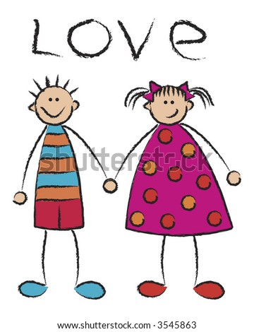 stock vector : boy and girl in love (vector) - cartoon illustration