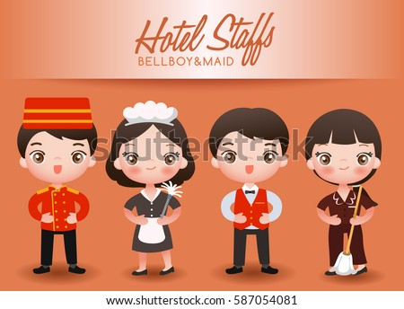 Boy And Girl In Professional Clothing Hotel Staffs Vector Illustration