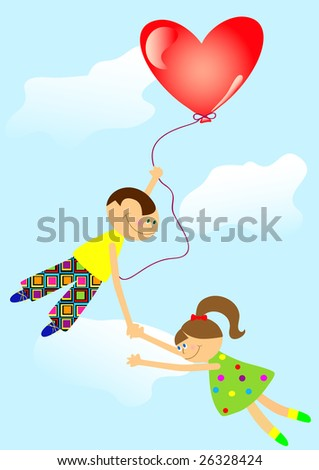 Boy and girl in the air for the ball. It is easy to fly if the wings - love.