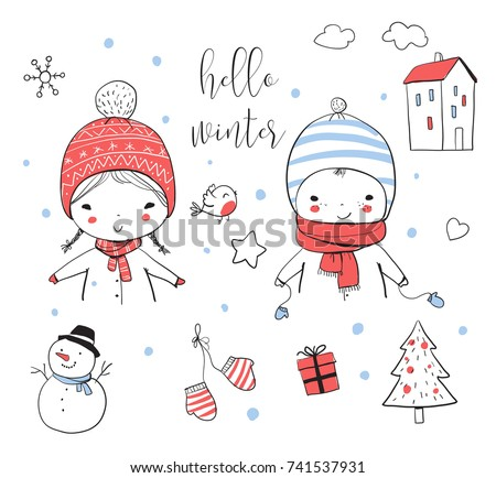 boy and girl in winter