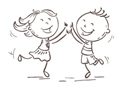 Boy and girl jumping with joy to celebrate some victory or success, cartoon vector drawing