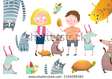 Boy and Girl Kids with Pets Collage Design. Young kids and domestic animals vector cartoon.