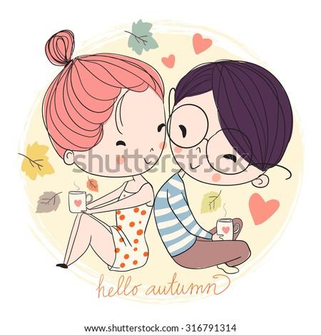 Boy and girl. Love cards. Theme autumn.