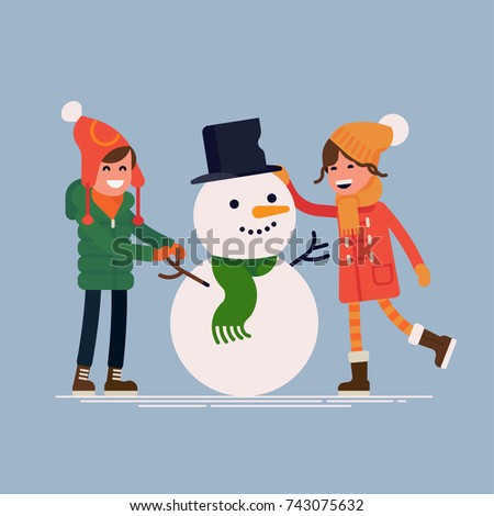 Boy and girl making snowman. Vector quality character design on winter holidays season break outdoors recreation and activities for kids