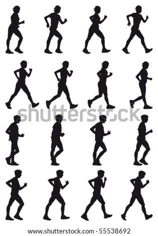 Boy and girl marching, black silhouettes, sixteen different postures