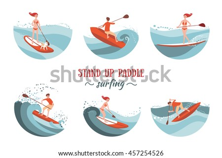 boy and girl paddle boarding on