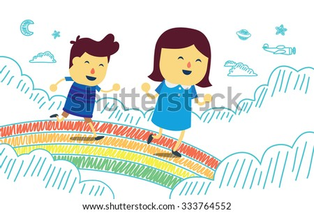 boy and girl play running on
