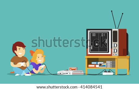 boy and girl play tv game