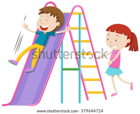 Boy and girl playing on the slide illustration