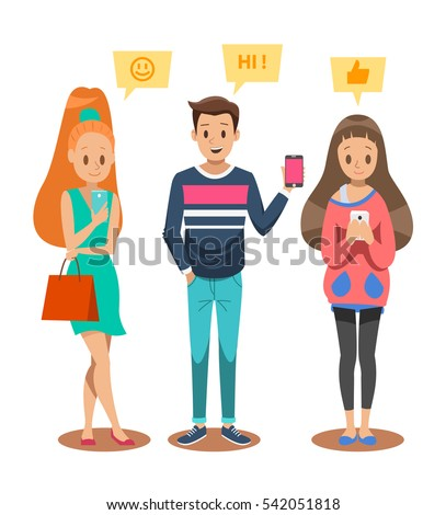 boy and girl playing smart phone