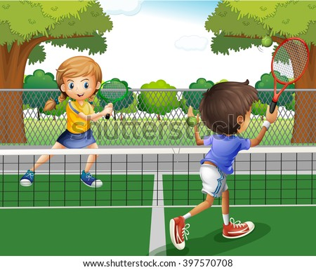 boy and girl playing tennis in