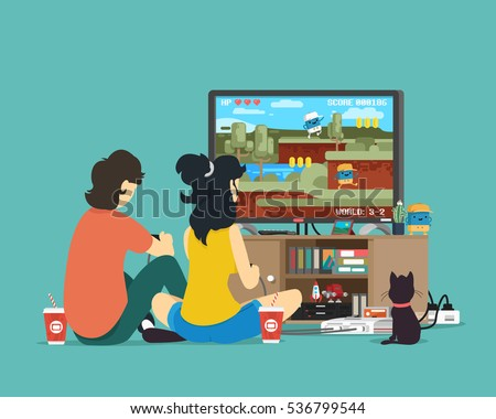 boy and girl playing tv game