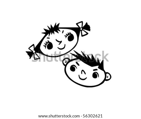 Boy And Girl 3 - Retro Clip Art