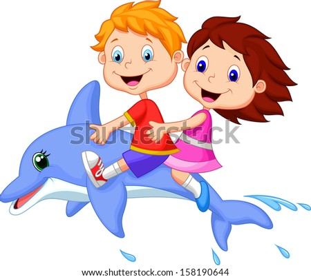 boy and girl riding a dolphin