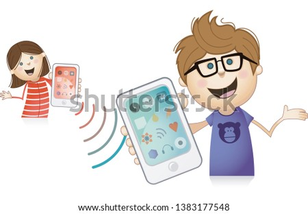 boy and girl sharing information through mobile phone