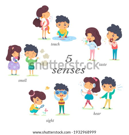 Boy and girl showing five senses set. Sense of sight, touch, hear, smell, taste vector illustration. Small happy children in nature and exploring wonders of spring. Joyful education at childhood. Foto stock ©